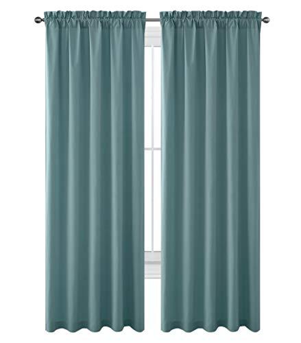 "Nice Home Privacy Curtains for Livingroom Room Darkening Cotton Like Textured Window Treatment Set Rod Pocket (52"" x 96"")"