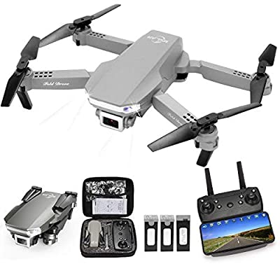 MSLAN M100 RC Drone Kids with 1080P Live Video, Tap Fly,Altitude Hold, Headless Mode,3 Speed Mode, Gravity Sensor,Foldable RC Quadcopter with (3 Batteries)-W02