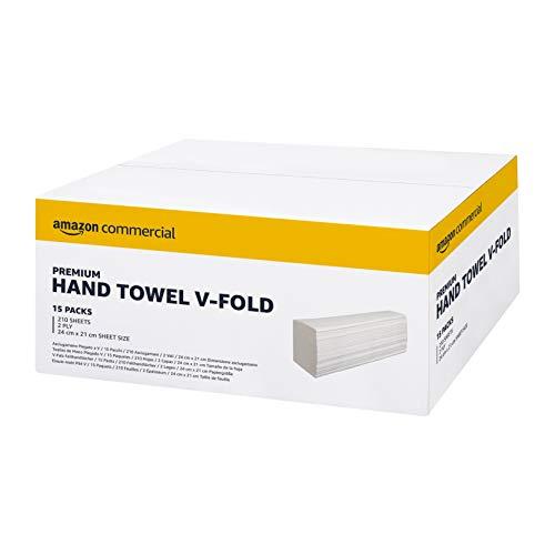 AmazonCommercial Interfold V-Falz Papierhandtücher, 21* 24 cm - 2 lagig -15 Packungen, 3150 Blatt