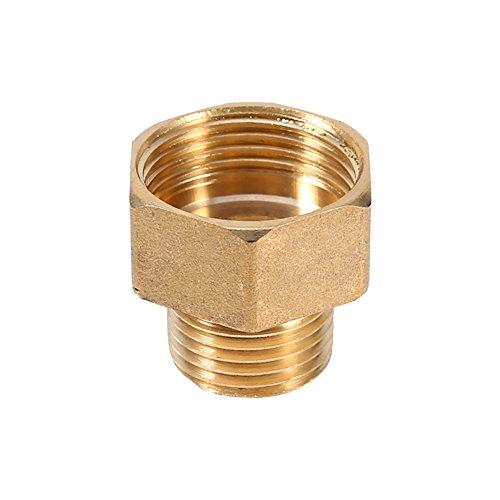 iFCOW - Conector de tubo de latón para tubería de agua de latón con adaptador reductor de bujes hexagonales 1/2BSPT macho y 3/4BSPT hembra