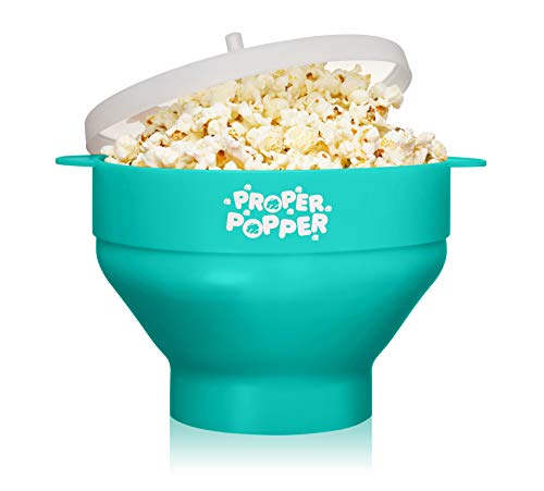Proper Popper Popcorn-Maker für Mikrowelle, Silikon, zusammenklappbar, BPA-frei und spülmaschinenfest – (Aqua)
