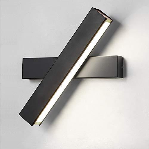 Moderna LED Apliques de Pared Lamparas de Pared Interior con Luz para Decoración de Lluminación, Giratorio 350 ° Blanco Frio Iluminación Para Dormitorio, Pasillo y Corredor (12W, Negro)