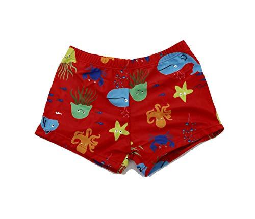 SOL Y PLAYA-Bañador Tiburón para niño Bañador Niños Boxer de Natación Traje de Baño (Shark Shark) Animales Mono ( Monkey ) Vida Marina pez ( Fish ) Tortuga Marina (Rojo-2, 7-8años)