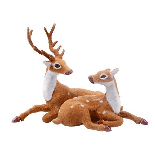Amosfun 1 Par Figura de Reno de Navidad Figura de Pareja Ciervo Figura de Animales Decoración de Navidad de Mesa Adorno de Jardín de Hada