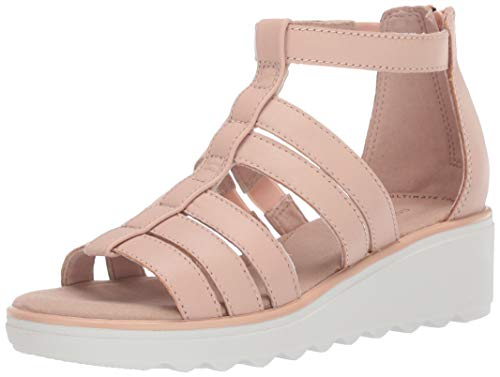 Clarks Women's Jillian Nina Wedge Sandal, Blush Leather, 5 M US