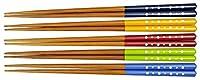 酒井産業 若狭塗 食洗機対応箸 水玉(5色組) 約長23cm 耐熱温度約90度 食卓 食事 竹製 すべり止め加工 つかみやすい カラフル 日本製
