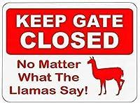 ラマが言うことは何でもゲートを閉じておいてください! ブリキサインヴィンテージ面白い生き物鉄の絵の金属板人格ノベルティ