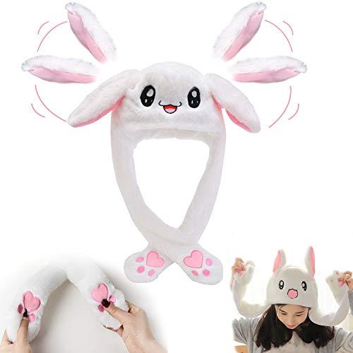 Chapeau de lapin Oreille en mouvement Chapeau de saut drôle de lapin en peluche Bonnet pour femmes filles,uvent être utilisés comme cadeaux amusants de chapeau de Pâques / Halloween / Noël. (blanc)