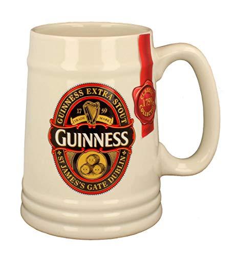 Guinness Classic Collection - Jarra de cerámica con diseño de etiqueta, color negro
