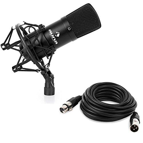 auna CM001B Studio-Mikrofon XLR Kondensatormikrofon mit 6m XLR Kabel (32mm Kapsel mit Goldmembranen, Nierencharakteristik, Mikrofonspinne, Schutztasche und 5/8''-Adapter zur Stativmontage) schwarz