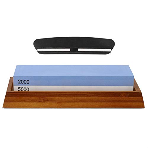 Afilador de Cuchillos -2000/5000 Grano Afilador de Cuchillos de Doble Lado Piedra de afilar Amoladora de Cocina con guía de ángulo de Base