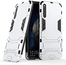 ZStangsk Phone Accessory for Huawei Magic 2 Case Dual Layer Hybrid Slim Case Full Coverage Shockproof Protective Cover Case with Kickstand for Huawei Magic 2 (Color : Silver)