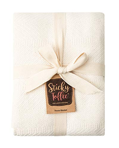 Sticky Toffee Woven Cotton Lightweight Throw Blanket | Warm and Soft Blanket for Couch Sofa and Bed | Ivory Cream | 60 in x 50 in