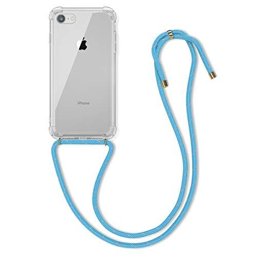 kwmobile Funda con Cuerda Compatible con Apple iPhone 7/8 / SE (2020) - Carcasa Transparente de TPU con Cuerda para Colgar en el Cuello