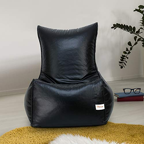 SATTVA Classy.Elegant.Stylish Chair Style Bean Bag Filled with Beans (XXXL, Black)