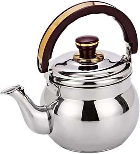 Tetera de té de Silbato de Acero Inoxidable, Tetera con Mango ergonómico Resistente al Calor, Adecuado for la Parte Superior de la Estufa (Color : Plata, Size : 0.6L)