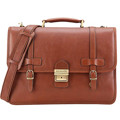 Banuce Vintage Full Grains Italian Leather Briefcase for Men Lock Lawyer Attache Case 14 Inch Laptop Messenger Bag Tote Shoulder Business Bag
