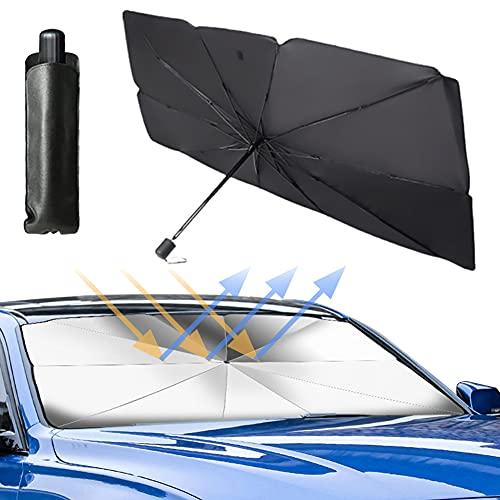 Parasol para parabrisas de coche, plegable, reflectante, protección UV contra el polvo, para la mayoría de los coches y SUV (145 cm x 79 cm)