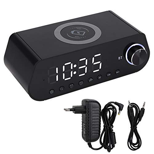 AMONIDA Cargador inalámbrico, Cargador de botón de Tambor con Altavoz Bluetooth, Pantalla LED inalámbrica MX-23 para el Dormitorio(White)