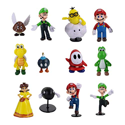 Figuras Super Mario Mini Figuras Set 12PCS Super Mario Cumpleaños Tarta Decoración Super Mario Cake Topper Decoración