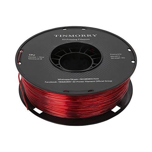 Filament TPU 1,75 mm, TINMORRY 3D Druckmaterialien, TPU Filament für FDM 3D Drucker, 1 kg 1 Spule, Rot