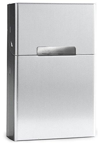 Leichte Zigarettenschachtel Aluminium mit Magnetverschluss - Zigarettenetui Zigarettenbox für 20 Standard-Zigaretten - mehrere Farben wählbar - Standardgröße der Box 9cm x 5,8cm x 2,6cm (Silber)
