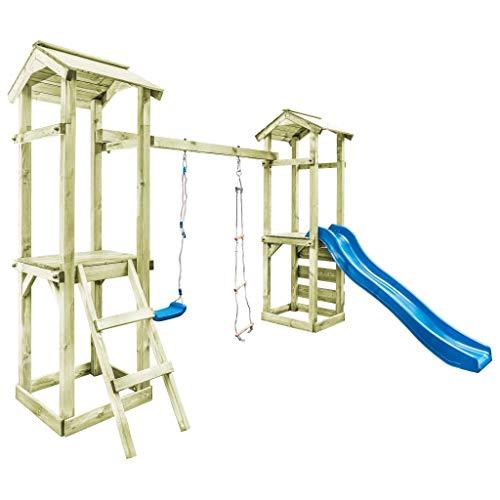 Festnight- Spielturm mit Leiter Rutsche Schaukel Klettern Rutschen Schaukeln Buddeln 300x197x218 cm Holz