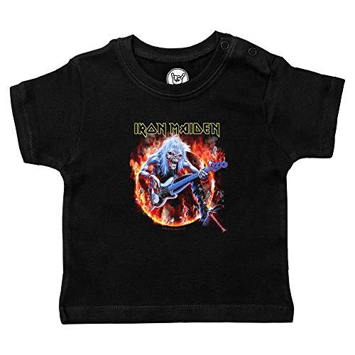 Metal Kids Iron Maiden (Fear Live Flame) - Baby T-Shirt, schwarz, Größe 56/62 (0-6 Monate), offizielles Band-Merch
