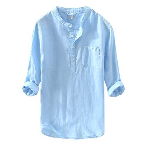 TAMALLU Herren Hemden Modische Formell Einfarbig Männer Tee Langarm Tasche Lose Bluse(Blau,2XL)