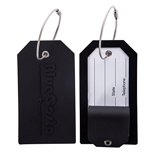BlueCosto Luggage Tag Travel Accessories w/ Privacy Cover Steel Loops - Black, Pack of 2