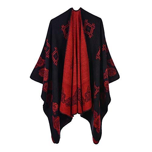 THTHT Women'S Sjaal Mode Mantel Sjaal Verdikking Geruit Rose Jacquard Warm En Lange Herfst En Winter Dual-Use Classic Zwart Rood