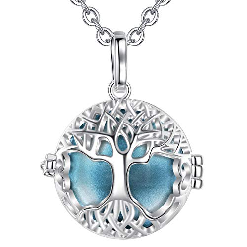 Harmony Ball Pregnancy Bola Necklace - AEONSLOVE Silver Celtic Tree of Life Melody Angel Chime Caller Bell 20mm Mexican Bola Ball Pendant 30' Necklaces for Pregnant Women Baby Mom Gifts(Metallic Blue)
