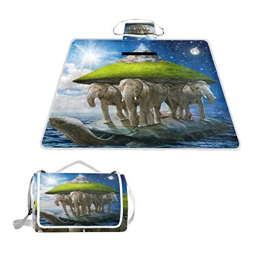 TIZORAX World Couverture de Pique-Nique imperméable pour l'extérieur Motif Tortue Portant Les éléphants Qui Porte la Terre sur Leur Dos