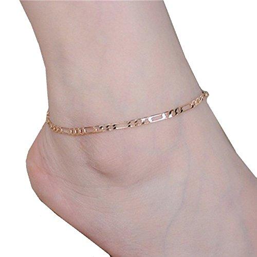 Fulltime(TM Lady Simple Fashion Gold Metal Ankle Chain Bracelets Anklets (Gold)
