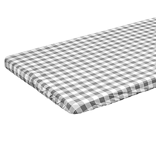 6ft Rectangle Elastic Fitted Tablecloth Waterproof SpillProof Edged Vinyl Table Cover Gray Checkered Printed with Flannel Baking Easy to Wipe Off Stains Great for Picnic Party Outdoor Patio