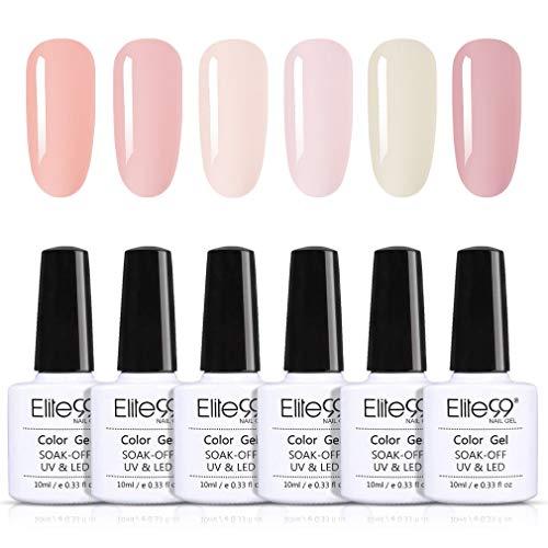 Elite99 Smalto Semipermanente per Unghie in Gel UV LED Colore Nudo Francese Gel per Unghie Kit Colorati Set per Manicure e Pedicure Semipermanente Soakoff 6pcs 10ml - C001