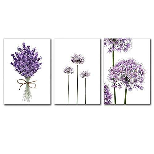 zxddzl Modernes skandinavisches Lavendel-Blumen-Plakat-Leinwand-Grün-Malerei-Plakat