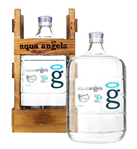 Aqua Angels - Natürliches alkalisches Wasser (pH-Wert 8,8) / Gletscherwasser aus Island - 11,3 L - Glasgalone