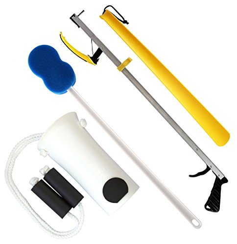 RMS Hip Knee Replacement Kit - Ideal for Recovering from Hip Replacement, Knee or Back Surgery, Mobility Tool for Moving and Dressing (32 Inch Reacher)