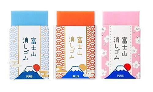 【限定】プラス エアイン 富士山消しゴム3色同柄セット 青富士山・赤富士山・桜富士山