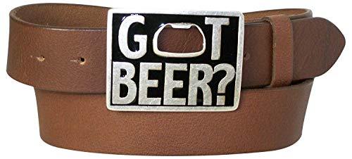 Fronhofer Ceinture 100% cuir, Boucle décapsuleur avec inscription « Got Beer » 12024 Mixte, Taille:Taille 90 cm, Couleur:Marron