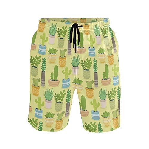 BONIPE Herren Badehose Kaktus exotisches Pflanzenmuster Quick Dry Boardshorts mit Kordelzug und Taschen Gr. S 7-9, mehrfarbig