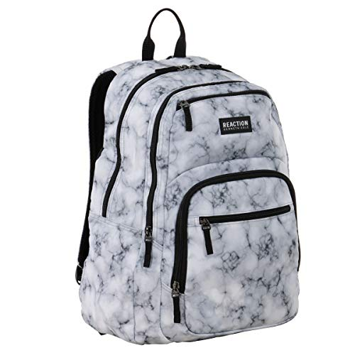 "Kenneth Cole Reaction Printed Dual Compartment 16"" Laptop & Tablet Backpack for School, Travel, & Work, White Marble, Laptop"
