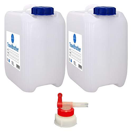 TravelBrother I 2 x 10 Liter Kanister mit Liter-Skalierung Plus 1 x AGH und 2 x Deckel I HERRLAN-Qualität I Made in Germany