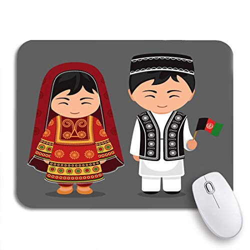 MIGAGA Gaming-Mauspad,Afghanen im Nationalkleid Flagge Mann und Frau traditionell,Rutschfest Verschleißfestes Und Haltbares Gummi,Mousepad Für Bürocomputer,9.5