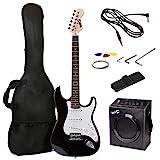 Kit de guitarra eléctrica RockJam de tamaño completo con amplificador de guitarra de 20 vatios, lecciones, correa, estuche, púas, trémolo, cuerdas de plomo y de repuesto - Explosión Azul