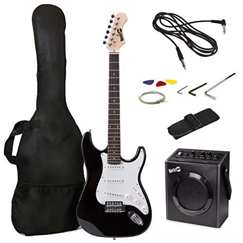 Ensemble de guitare électrique pleine grandeur RockJam avec ampli de guitare 10 W, leçons, sangle, sac de transport, médiators, Whammy, câble et cordes de rechange - Noir