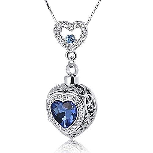 KBFDWEC Collar de Cenizas Joyería de cremación Conmemorativa Colgantes de Recuerdo de urna de circonita de corazón Azul para Mujer