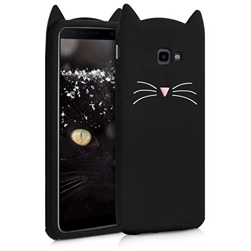 kwmobile Schutzhülle kompatibel mit Samsung Galaxy J4+ / J4 Plus DUOS - Hülle Handy - Handyhülle - Silikon Cover Hülle Katze Schwarz Weiß