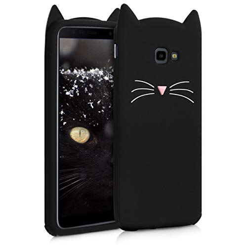 kwmobile Samsung Galaxy J4+ / J4 Plus DUOS Hülle - Handyhülle für Samsung Galaxy J4+ / J4 Plus DUOS - Handy Case Cover Silikon Schutzhülle - Katze Design Schwarz Weiß